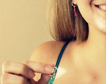 silver mini hoops-red/blue turquoise tassel hoops - turquoise hoops-boho tassel earrings- women gem hoops - elegant hoops- tassel fashion