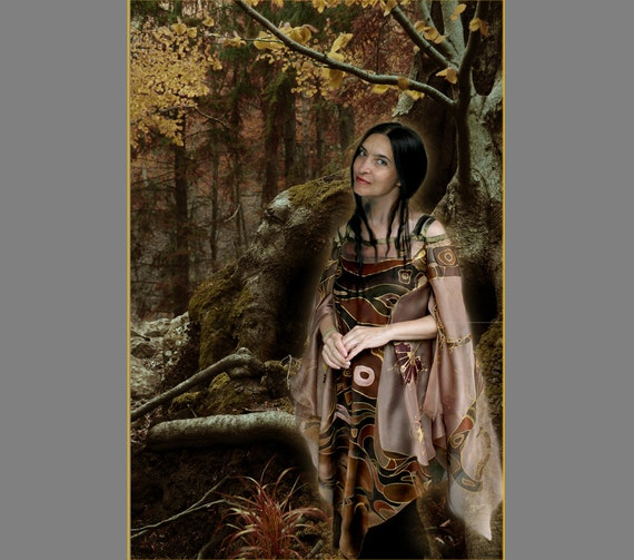 Dress, Medieval cut, elven, fantasy, tunic, prom, party, brown, M size, high fashion, cosplay, dryad, Thracian legend, elven fashion, orphic