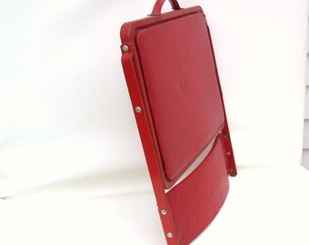 Vintage Folding Chair, Red Vinyl Chair, Metal Stadium Seat, Camping Gear, Outdoor Chair