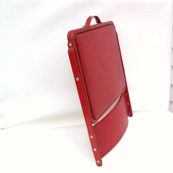 Metal Stadium Seats : Vintage folding chair red vinyl metal stadium by