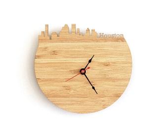 Houston Modern Clock - City Skyline Wall Clock - Texas