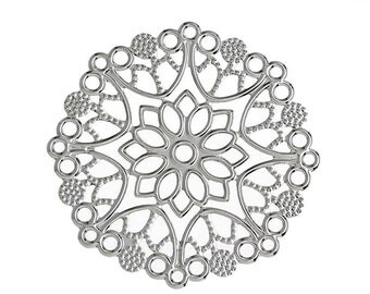 Filigree : 10 Antique Silver Filigree Connectors | Platinum Filigree Links 35x33mm ... Lead, Nickel & Cadmium Free 32679.T