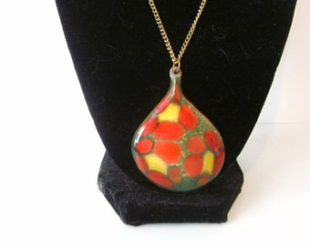 Vintage copper enamel pendant, Goodrich Originals, orange enamel necklace, large teardrop shape pendant