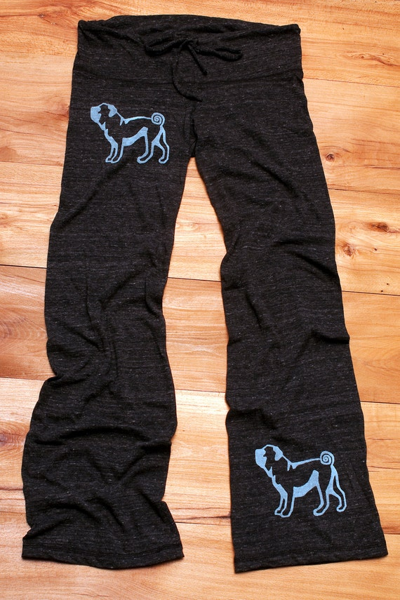cute as a button Pug Pants, Yoga Pants, Lounge Pants, S,M,L,XL