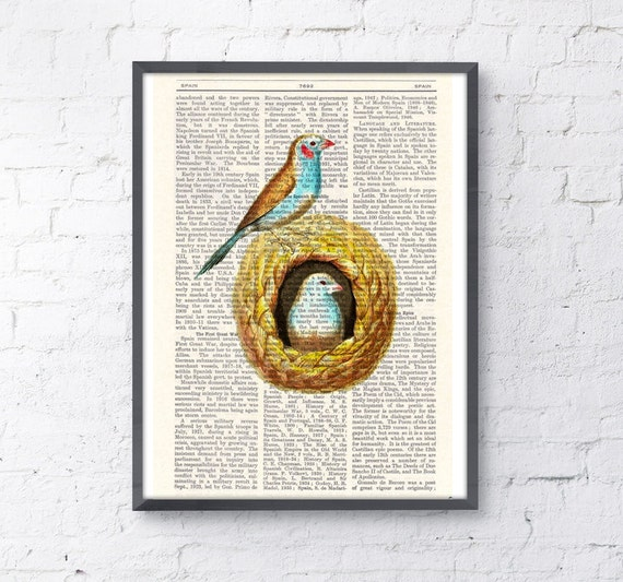 Birds in their nest Print on Vintage Book Perfect gift altered art dictionary page illustration book print art ANI048