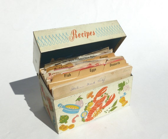 Metal Recipe Card File Box by Ohio Art Foods Print Lithograph