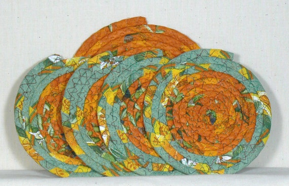 Trivet, Fabric Coasters, Coiled Trivet, Clothesline Coasters, Coiled ...