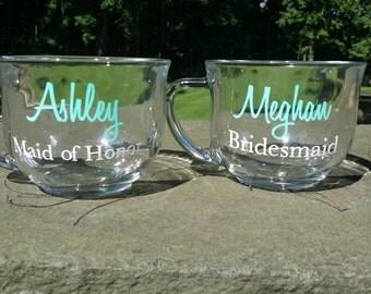 Bridesmaid gift, personalized glass Coffee mug. Mint and white. Custom wedding Bride, Bridesmaid, Maid of Honor gift. Bridesmaid gift idea