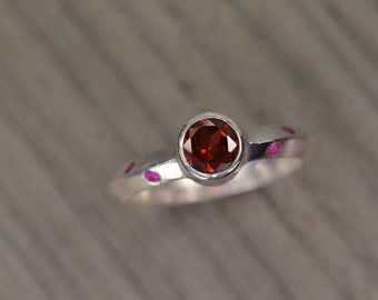 Garnet Ruby Ring, silver gold stack ring, Jan July Birthstone - Luciano Ring