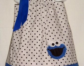 Cookie Monster Pillowcase Dress / Sesame Street / Newborn / Blue / Infant / Baby / Girl / Toddler / Birthday / Custom Boutique Clothing