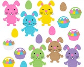 easter clipart digital clip art bunny bunnies eggs basket - Easter Bunnies & Eggs Digital Clipart