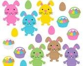 easter clipart digital clip art bunny bunnies eggs basket - Easter Bunnies & Eggs Digital Clipart