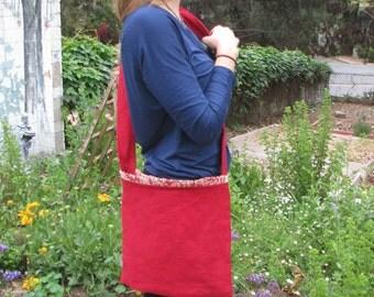 Red Linen Messenger Bag - Ruffled Edge