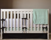 Crib Bedding Set - 5 Piece Set - Crib Bumper, Fitted Crib Sheet, Crib Skirt, Changing Pad Cover, Organic Blanket - Mint, Black, White