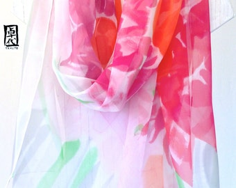 Hand Painted Silk Shawl Scarf, Pink Garden Party, Pink Floral Scarf. Silk Chiffon Scarf. Approx 20x82 inches.