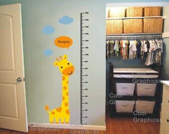 wall decal giraffe growth chart wall decal children wall decal boy vinyl wall sticker kids decal- Giraffe and Children Growth Chart