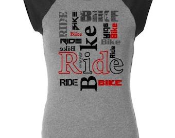 Women's Bicycle T-shirt-BIKE RIDE-Road Bike, Mountain Bike Tee, ladies bike t-shirt, bike gift for her, cycling t-shirt