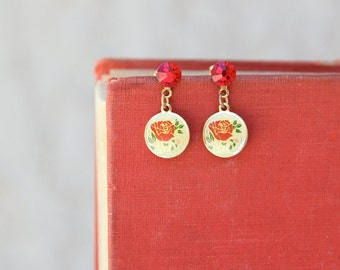 Cute Earrings, Asian Floral Jewelry, Red Floral Earrings, Vintage Inspired, Red and Gold, Jewelry Under 25, Gifts For Mom, Everyday Earring