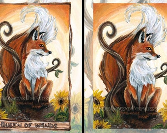 Red Fox Print, Sunflower Decor, Large Wall Art, Queen of Wands Tarot Card, Wildlife Poster, Orange and Yellow, Animism Tarot Deck