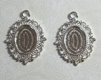 Filigree Bezels for 18x13mm Cabochons Silver Plated 2 pcs