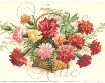 Multi Color Carnations in Basket with Bow Antique French Postcard Chromo Post Card from Vintage Paper Attic