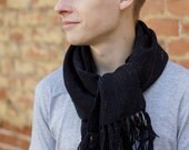 Handwoven black scarf merino wool mens scarf tweed READY TO SHIP!