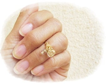 Above the knuckle ring. Gold filled ring. Heart dangle ring. Dainty charm ring. Summer midi rings. Gold heart ring. Birthstone jewelry