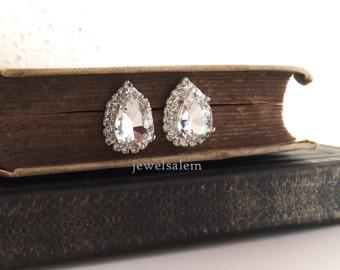 Wedding Earrings for Bride, Bridal wedding earrings, Bridal Teardrop Earrings, Swarovski Bridal Earrings, Bridesmaids Earrings, Gift