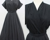 1950s 50s Black Dress // Black Pleated Cuff Dress // 50s Day dress // Vintage Wrap Style Dress