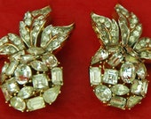 Price Reduced Rare Vintage CROWN TRIFARI Alfred PHILLIPE Elegant Rhinestone Earrings 1950/60s Rare Gold Tone Metal Even Color Exc Condition