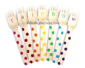 Rainbow Forks-Polka dot forks-polka dot spoons-rainbow birthday- rainbow color utensils-rainbow party accessories-rainbow decor-70 pieces