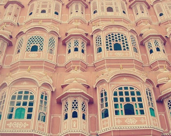 India Travel Photography, Palace of Winds, Hawa Mahal, Pink Palace, Summer Decor, Spring Wall Art, Unesco site, Asia, Fine Art Photo, Dreamy