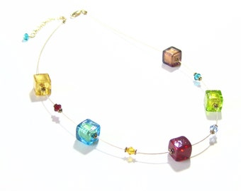 Murano Glass Colorful Cube Beads Gold Illusion Necklace, Venetian Jewelry, Lampwork Glass Necklace, Lampwork Glass Jewelry, Gift For Her