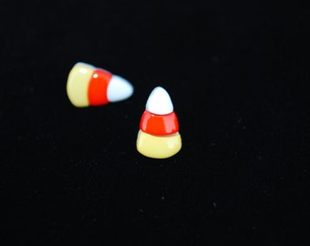 Candy Corn Earrings -- Candy Corn Studs, Halloween Earrings