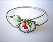 Cherries and mint green bangle set