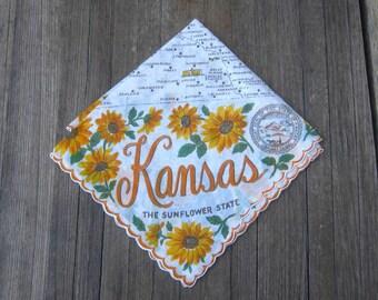1950s Vintage Kansas State Map Hankie - Midcentury Kansas Souvenir Hankie - Franshaw Gift Hankie; Free Shipping/U.S.
