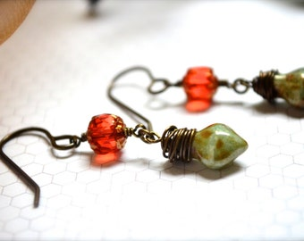 Autumn Orange, Gold and Wrapped Green Marble Drop Earrings in Czech Glass and Brass