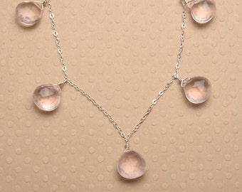 Rose Quartz Necklace, Pink Gemstone Necklace, Faceted Gemstone Necklace, Light Pink Gemstone Silver Chain