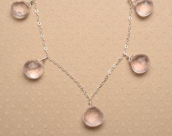 Rose Quartz Necklace, Pink Gemstone Necklace, Faceted Gemstone Necklace, Light Pink Gemstone Silver Chain