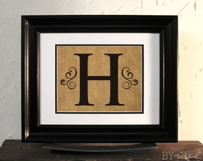Monogram Burlap Sign, Family Sign, Initial Last Name. Custom