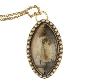 Georgian 12k Gold Reverse Painted Essex Crystal Mourning Pendant and Chain