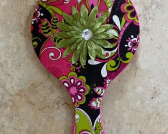 Contemporary floral hand-held mirror