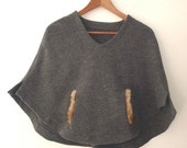 Poncho Capelet Shoulder Wrap Wool Muff Faux Fur Medium Size Handmade in France New Design By KnapOp