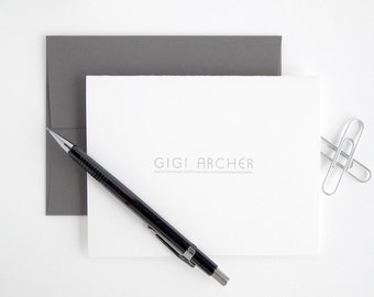 Silver Letterpress Stationery Set - Modern Folded Note Cards - Premium Transatlantic