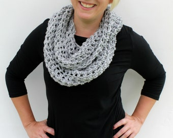 SILVER GREY Scarf, Infinity Scarf, Chunky Crocheted Fall Scarf, Made to Order