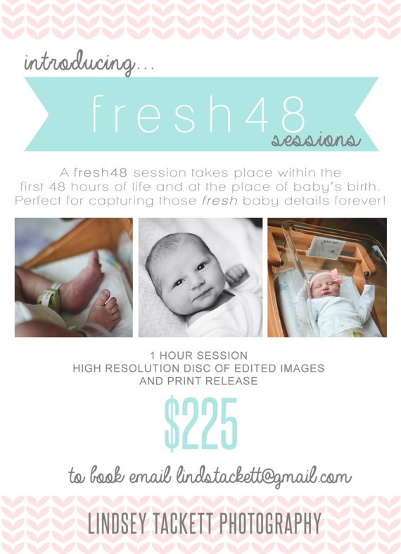 fresh 48 newborn hospital birth session marketing board