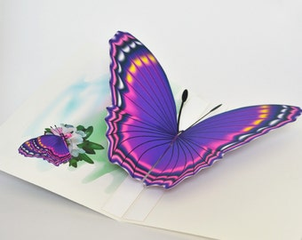 3D Purple Butterfly pop-up Card  Any occasion card