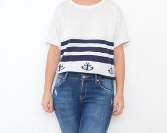 Vintage navy striped white nautical women sweater tshirt / top sailor anchor