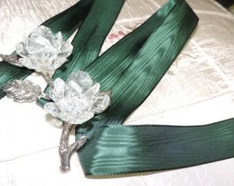 "Vintage 1"" Wide Beautiful Rich Lush Hunter Green Rayon Woven Edge Moire Ribbon"