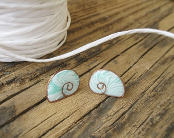 Mint Shell studs Beach Jewelry